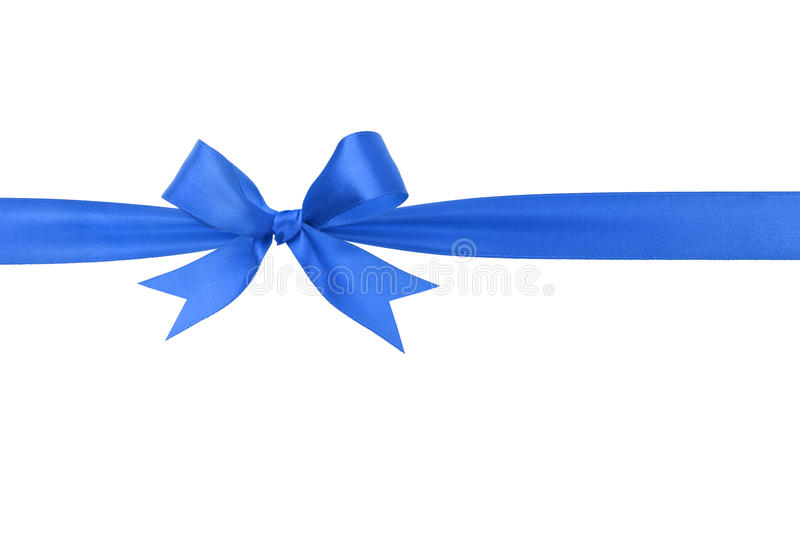 Handmade blue ribbon bow horizontal border. Isolated stock image