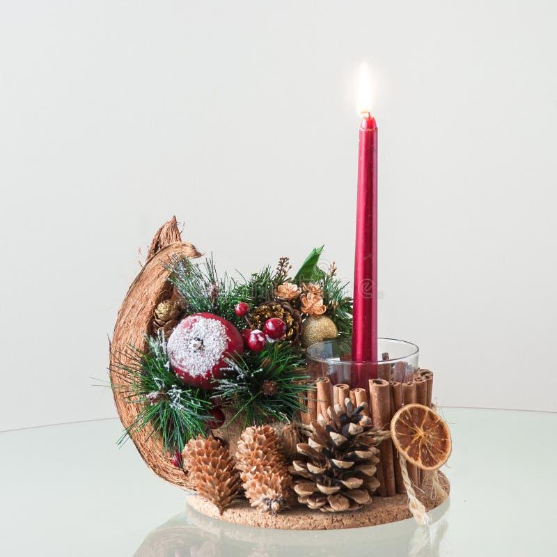 Handmade Bożenarodzeniowy świeczka właściciel obrazy royalty free