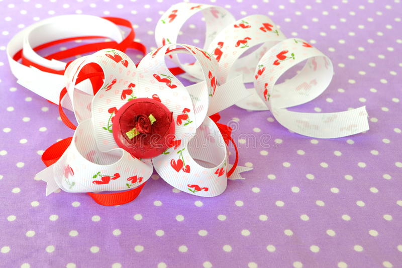 Handmade bow of ribbon, children hair accessory, ribbon set. Handmade crafts. Ribbons bow crafts. Handmade bow idea. Original handmade crafts. Simple hand-made stock photos
