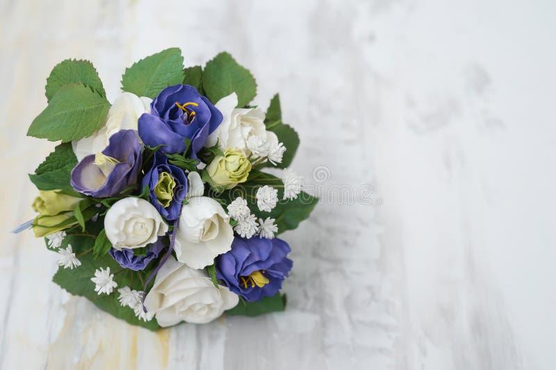 Handmade broszka bukiet, tkanina Ślubny bukiet, Jedwabniczy kwiat s/ obraz royalty free