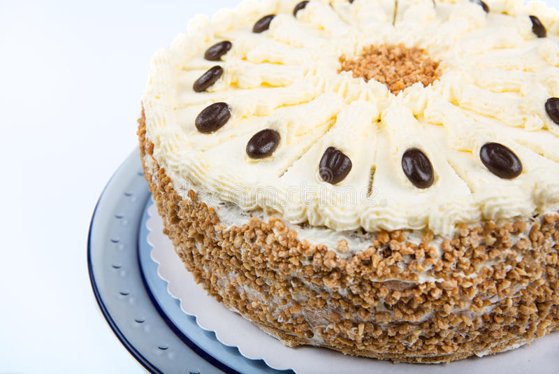 Handmade butter cream cake for birthday. In a closeup scene stock images