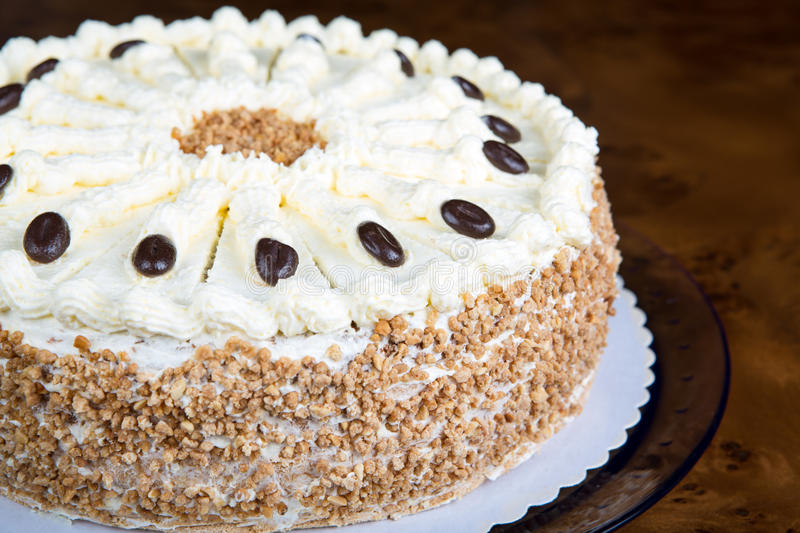 Handmade butter cream cake for birthday. In a closeup scene royalty free stock photography