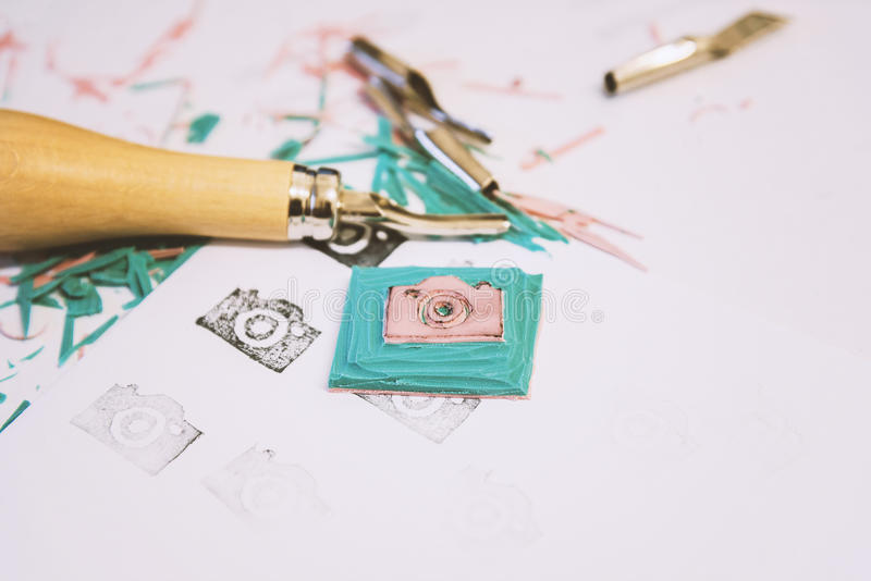 Handmade camera icon stamp stock photography
