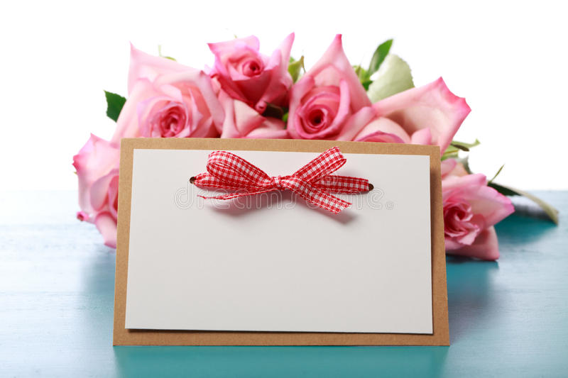 Handmade card with pink roses stock images
