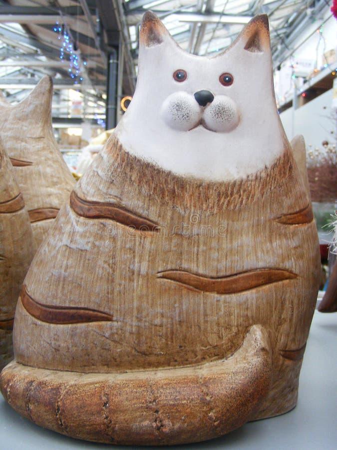 Handmade ceramic cat. Close up stock image