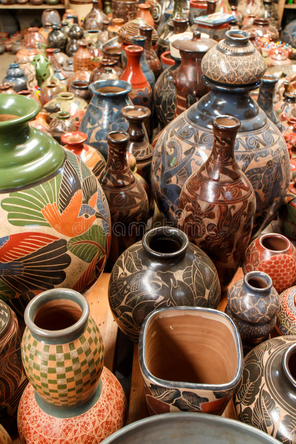 Handmade ceramic crafts from a shop. Handmade ceramic crafts group to decorate royalty free stock photo