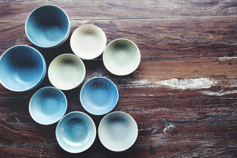 Handmade ceramic dishes stock photos