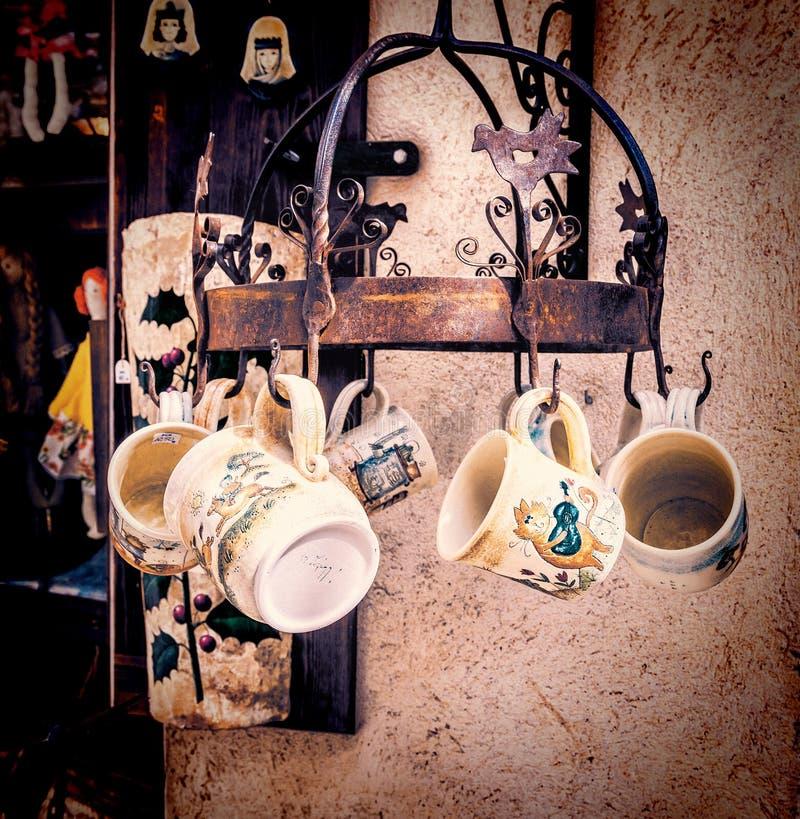 Handmade ceramic mugs at street market in Besalu, Spain. Handmade ceramic mugs at street market shop in Besalu, Spain stock image