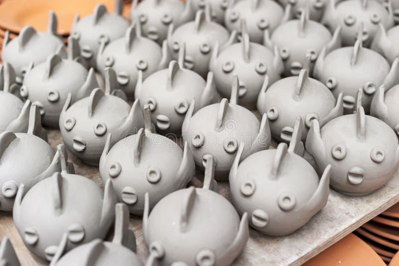 Ceramic puffer fish handmade drying royalty free stock images