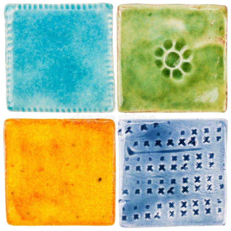 Handmade ceramic tiles royalty free stock photo