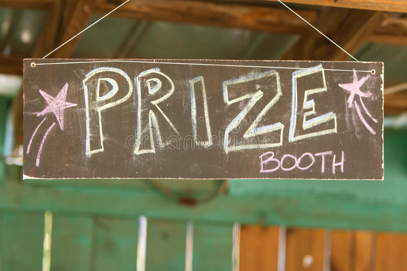 Handmade Chalk Sign Directs Carnival Patrons To Prize Booth stock images