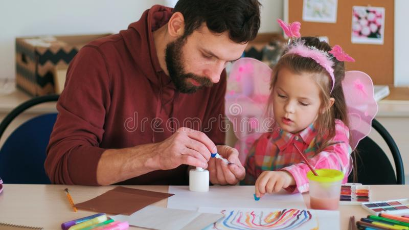 Handmade child present father support stock photo