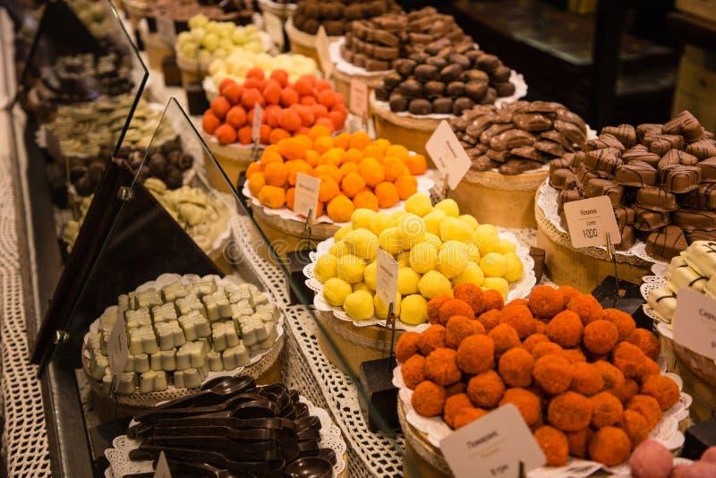 Handmade chocolate sweets in Lviv`s shop. Ukraine royalty free stock photo