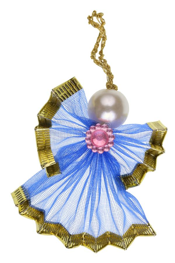 Handmade Christmas Angel made of blue silk and silver ball isolated stock images