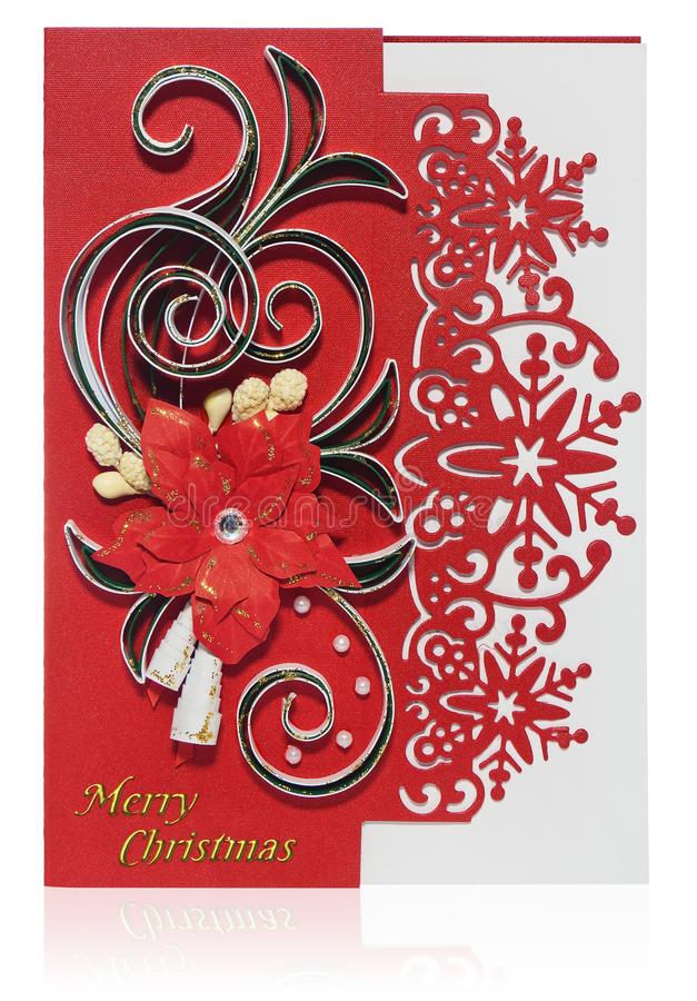 Handmade Christmas card with Merry Christmas greetings and poinsettia, bells. stock image