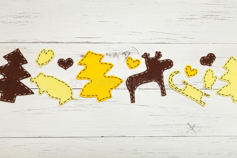 Handmade Christmas craft, children diy concept. Year of yellow pig.  stock images