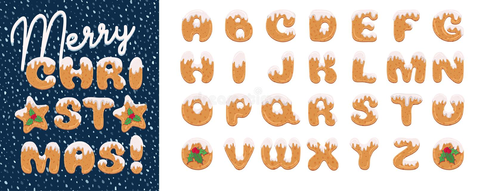 Handmade Christmas gingerbread cookies alphabet set. Cartoon style font. Art design letter. Festive lettering greeting vector illustration