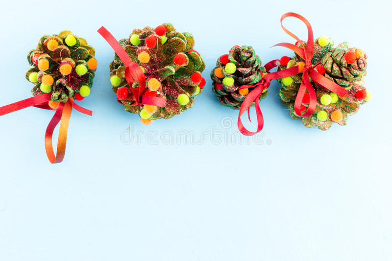 Handmade christmas ornaments as greeting background stock image