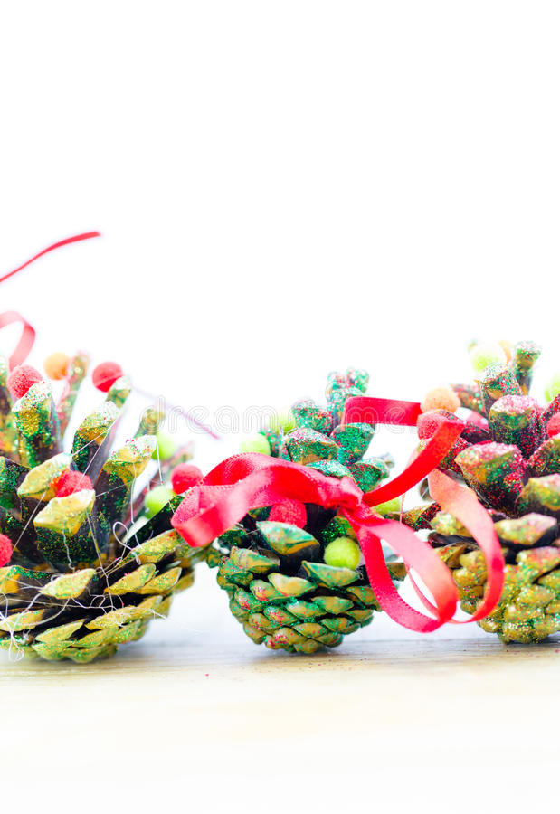 Handmade christmas ornaments as greeting background stock photo
