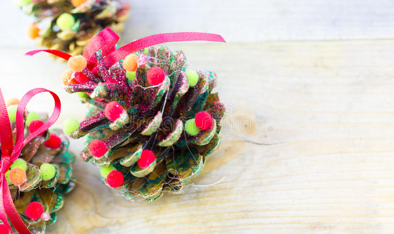 Handmade christmas ornaments as greeting background royalty free stock photography