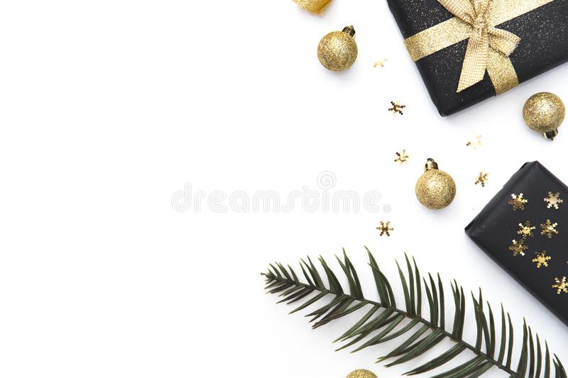 Creative Flat layout and top view composition. Handmade Christmas present gift boxes isolated in white. Creative Flat layout and top view composition royalty free stock image