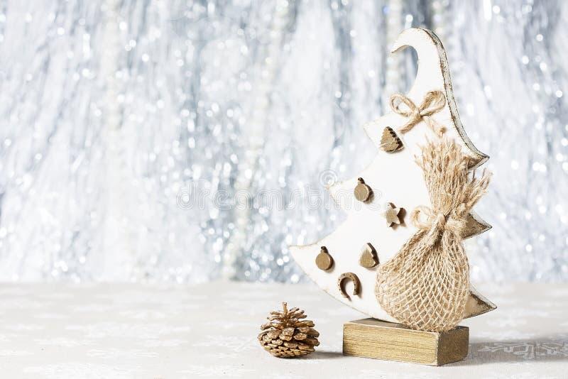 Handmade Christmas tree made of wood. stock photo