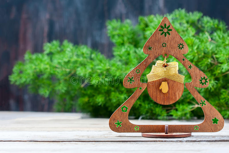 Handmade Christmas tree made of wood royalty free stock images