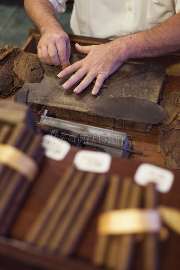 Handmade cigar live preparation royalty free stock images