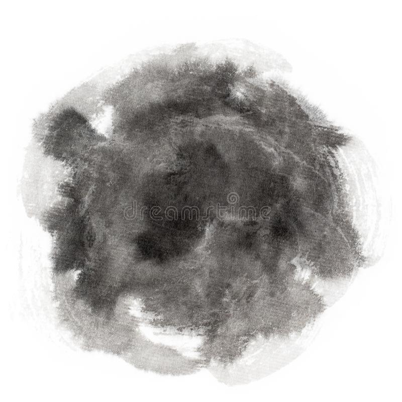 Handmade circle drawing ink black brush sketch. On isolated white royalty free stock photo