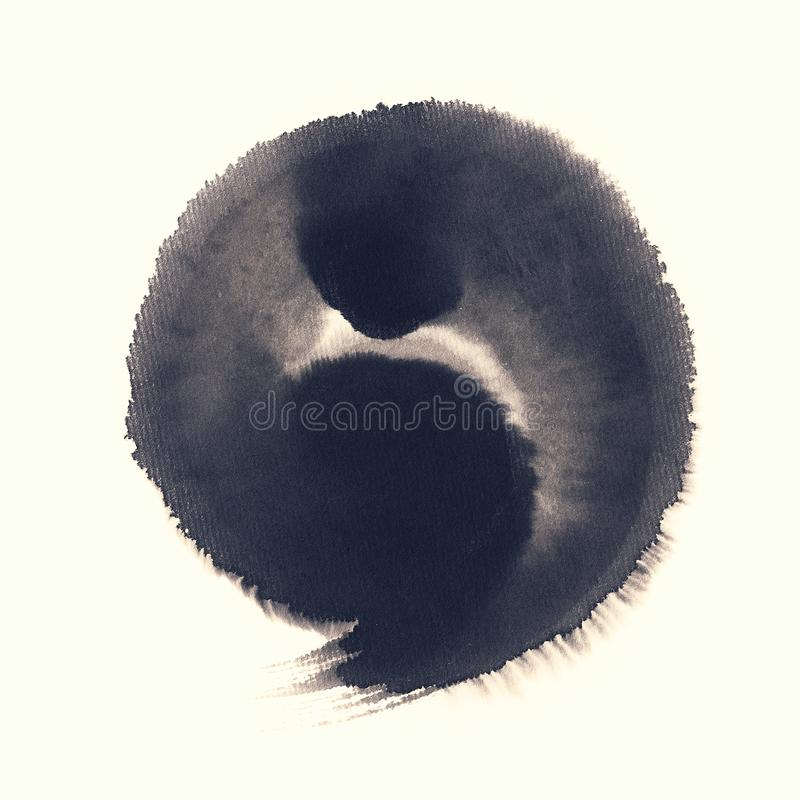Handmade circle drawing ink black brush sketch. On isolated white royalty free stock image