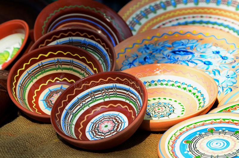 Ceramic plates, autumn fair products royalty free stock photo