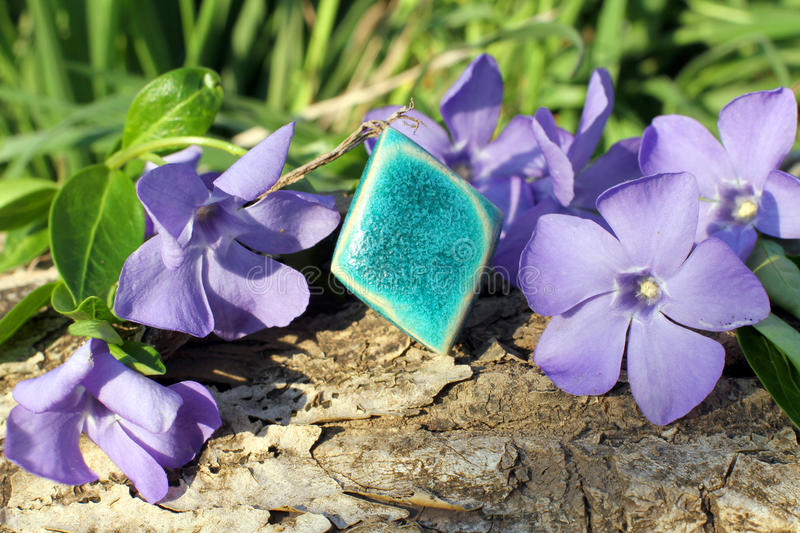 Handmade clay ring on the nature background stock image