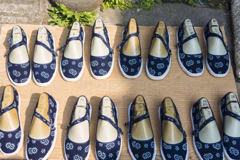 Handmade cloth shoes royalty free stock photo