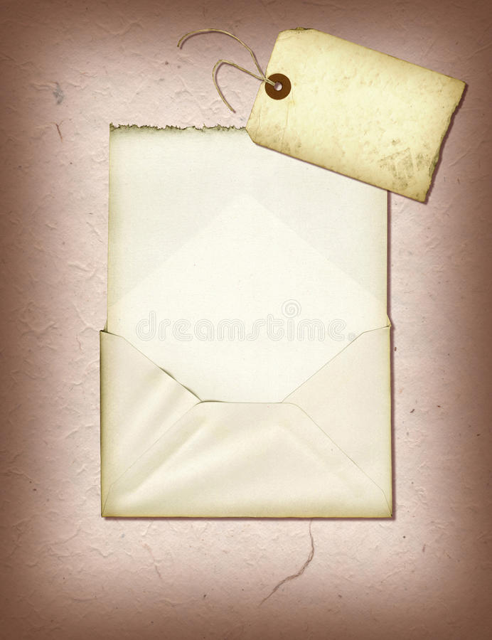 Handmade Collage. A collage created using handmade paper, a vintage envelope and a tattered tag stock illustration