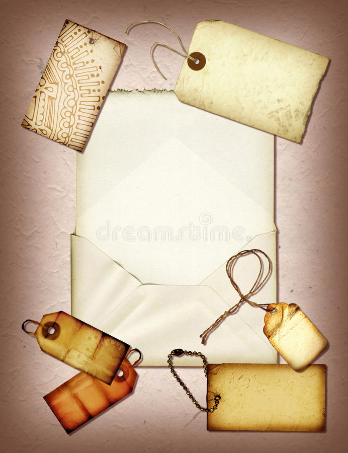 Handmade Collage. A collage made with tags and handmade paper vector illustration