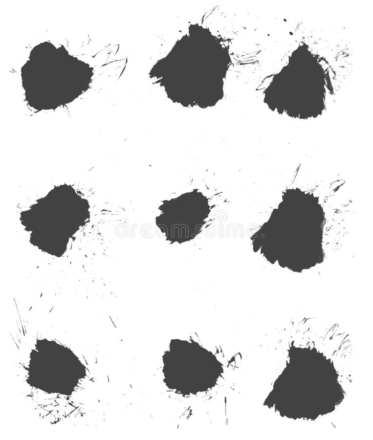 9 handmade color blobs made with paintbrush on white background. Set of 6 dirty handmade color blobs on white background royalty free illustration