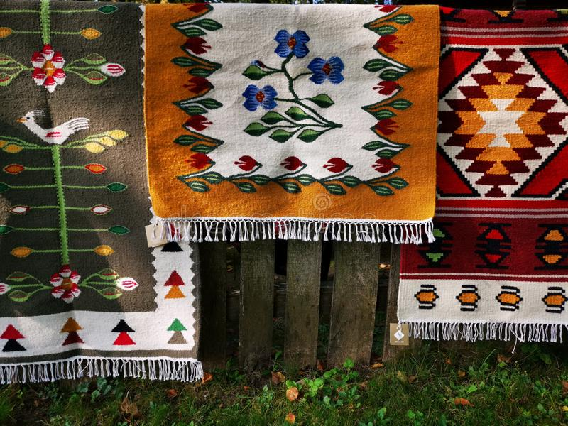 Colorful carpets with traditional romanian models royalty free stock image
