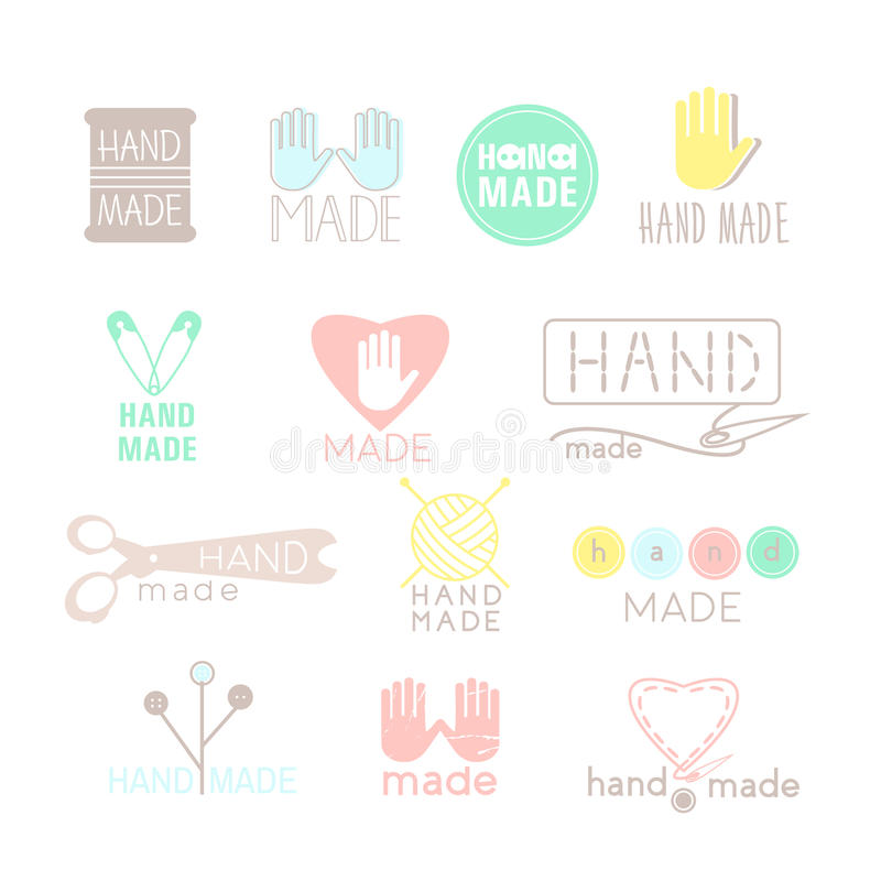 Handmade colorful icons isolated on white. Set of hand made labels, badges and logos for design. Handmade workshop logo set. vector illustration