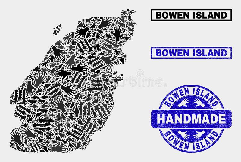 Handmade Composition of Bowen Island Map and Scratched Seal. Vector handmade collage of Bowen Island map and scratched stamps. Mosaic Bowen Island map is vector illustration