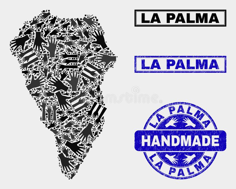 Handmade Composition of La Palma Island Map and Scratched Seal vector illustration