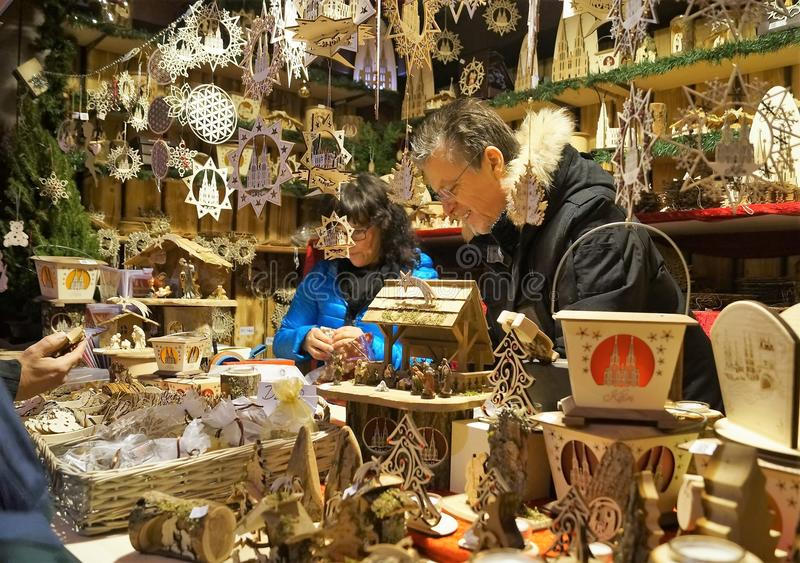 Handmade crafts vendor at the Christmas Market stock photo