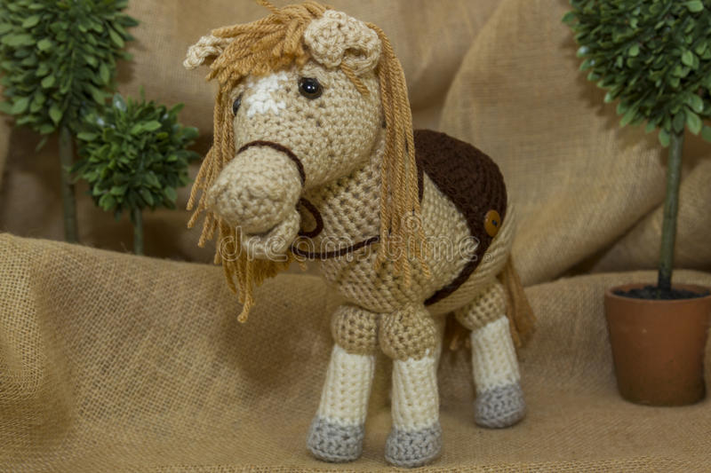 Handmade Crochet Toy Horse stock photography