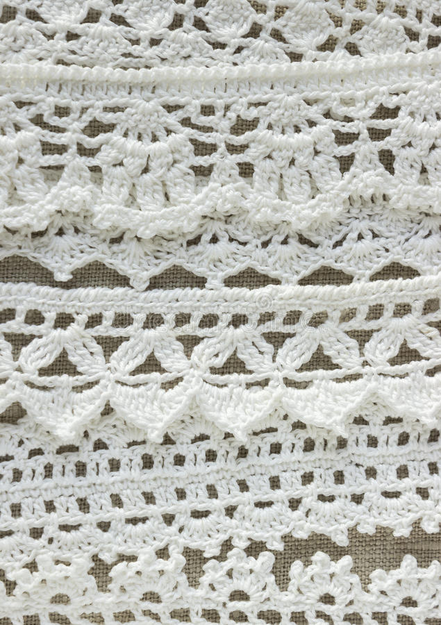 Handmade Crocheted Cotton Organic Lace Ribbons On Linen Background ...