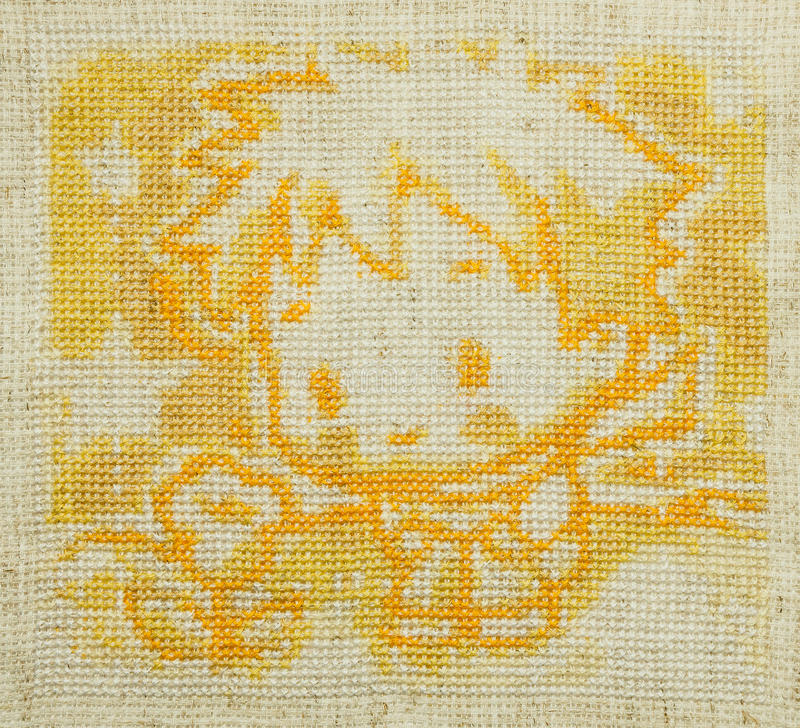 Handmade cross-stitch. Little prince. Antoine de Saint-Exupery royalty free stock photography