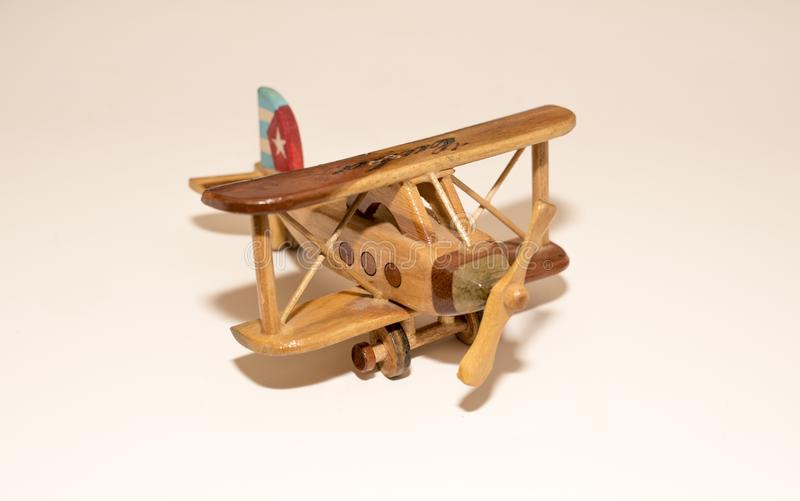 Handmade Cuban wooden airplane toy stock photography
