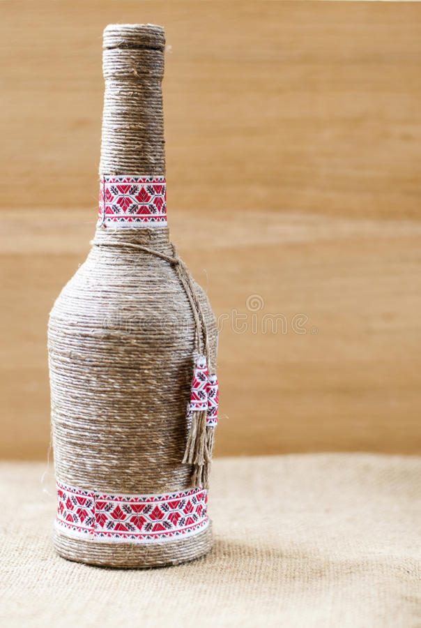 Free Handmade Decorated Bottle, With Twine Stock Photography - 68518332