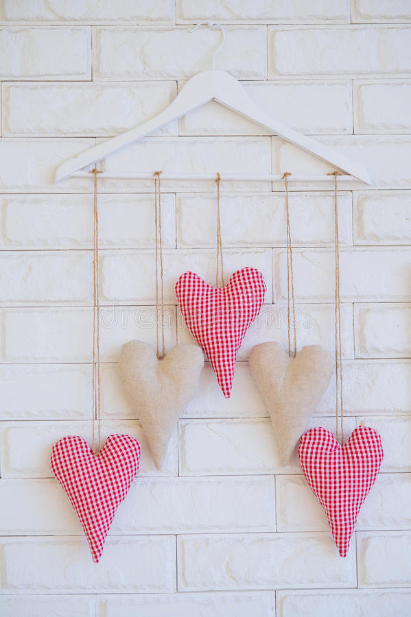 Handmade dekoraci tkaniny serca zdjęcie royalty free