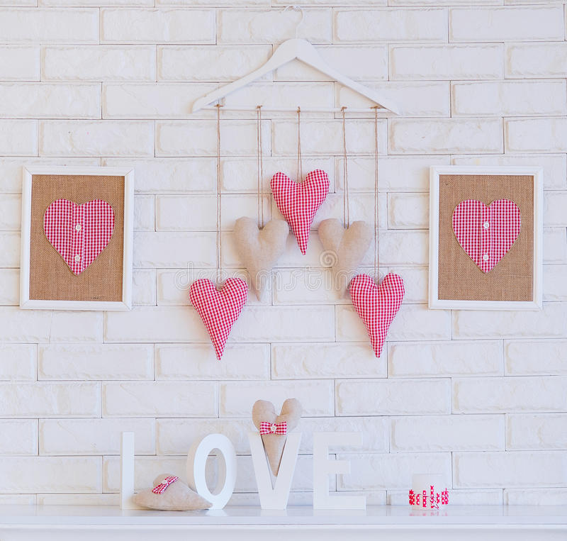 Handmade dekoraci tkaniny serca zdjęcia stock