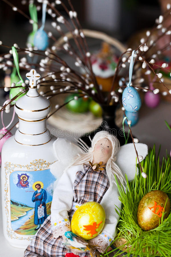 Handmade Doll In At Easter Stock Images