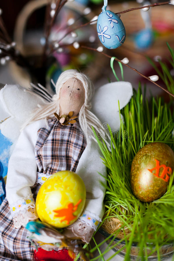Download Handmade doll in at Easter stock photo. Image of grass - 29047816